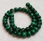 1 Dozen Malachite 12x8mm Puff Rondelle Semiprecious Gemstone Beads