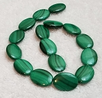 2 Malachite 18x25mm Puff Oval Semiprecious Gemstone Beads