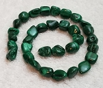 1 Strand of Malachite 7x10mm Irregular Nuggets Semiprecious Gemstone Beads