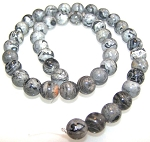 1 Strand of 8mm Round Semiprecious Gemstone Beads - Black Map Jasper