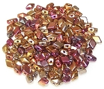 5 Grams of MINI DiamonDuo 2-Hole Czech Glass 4x6mm Beads - Matte Golden Iris