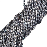 1 Strand of 3x2mm Glass Crystal Rondelle Beads - Metallic Silver