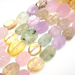 1 Strand of Semiprecious Gemstone Large Nugget Beads - Mixed Citrine, Rose Quartz, Prehnite, Mauve Jade