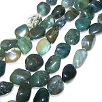 1 Strand of Semiprecious Gemstone Large Nugget Beads - Moss Agate