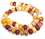 1 Strand of 12x8mm Puff Rondelle Semiprecious Gemstone Beads - Moukaite