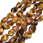 1 Strand of Semiprecious Gemstone Large Nugget Beads - Natural Tiger Eye