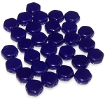 30 Czech Glass 6mm Honeycomb Hex 2-Hole Beads - Navy