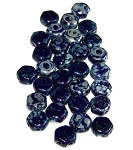 30 Czech Glass 6mm Honeycomb Hex 2-Hole Beads - Navy Picasso