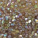 4 Dozen Czech 2mm Fire-Polished Glass Beads - Olive Brown Rainbow