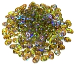 7.5 Grams - Superduo Beads - Olive Brown Rainbow