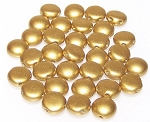 25 Candy 2 Hole 8mm Czech Glass Beads - Olive Gold