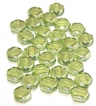 30 Czech Glass 6mm Honeycomb Hex 2-Hole Beads - Olivine Luster