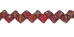 40 Czech Glass Silky 2-Hole 6mm Beads - Opaque Red Travertine