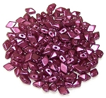 5 Grams of MINI DiamonDuo 2-Hole Czech Glass 4x6mm Beads - Pastel Burgundy