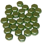 30 Czech Glass 6mm Honeycomb Hex 2-Hole Beads - Pastel Olivine