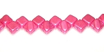 40 Czech Glass Silky 2-Hole 6mm Beads - Pastel Pink