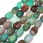 1 Strand of Semiprecious Gemstone Large Nugget Beads - Peacock Green Banded Agate