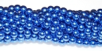 1 Strand of Czech Glass 6mm Pearl Beads - Persian Blue