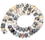 1 Strand of 8x5mm Puff Rondelle Semiprecious Gemstone Beads - Picasso Jasper