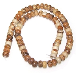 1 Strand of 8x5mm Puff Rondelle Semiprecious Gemstone Beads - Picture Jasper