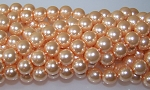 1 Strand of Czech Glass 10mm Pearl Beads - Pink Glow