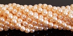 1 Strand of Czech Glass 6mm Pearl Beads - Pink Glow