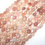 1 Strand of Pink Moonstone 7x10mm Irregular Nuggets Semiprecious Gemstone Beads