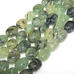 1 Strand of Semiprecious Gemstone Large Nugget Beads - Prehnite