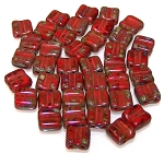 40 Grooved Tile 2-Hole Czech Glass Groovy Beads - Red Dark Travertine