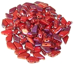 7.5 Grams of 9x5mm Czech Glass Kite Beads - Red Iris Luster