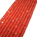 1 Strand of 8x5mm Puff Rondelle Semiprecious Gemstone Beads - Red Jasper