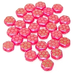 30 Czech Glass 6mm Honeycomb Hex 2-Hole Beads - Red Laser Core Ab