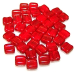 40 Grooved Tile 2-Hole Czech Glass Groovy Beads - Red Luster