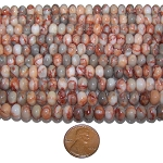 1 Dozen Red Map Jasper 8x5mm Puff Rondelle Semiprecious Gemstone Beads