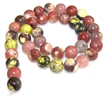 1 Strand of 10mm Round Semiprecious Gemstone Beads - Red Plum Blossom Jasper