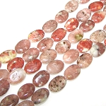 6 Red Plum Blossom Jasper 13x18mm Puff Oval Semiprecious Gemstone Beads