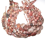 Red Plum Blossom Jasper Semiprecious Gemstone Beads - 11 Strand Set