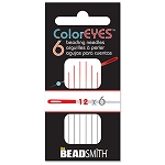 1 Pack of 6 Size 12 Red Color Eyes Beading Needles