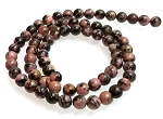 1 Dozen 6mm Round Semiprecious Gemstone Beads - Rhodonite