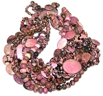 Rhodonite Semiprecious Gemstone Beads - 11 Strand Set