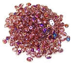 7.5 Grams of MiniDuo Czech Glass Beads - Rosaline Sliperit