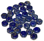 30 Czech Glass 6mm Honeycomb Hex 2-Hole Beads - Royal Blue Picasso