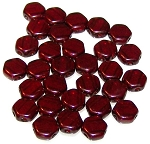 30 Czech Glass 6mm Honeycomb Hex 2-Hole Beads - Ruby Red Wine