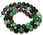 1 Dozen 8mm Round Semiprecious Gemstone Beads - Ruby Zoisite