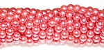 1 Strand of Czech Glass 6mm Pearl Beads - Salmon