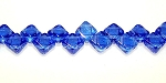 40 Czech Glass Silky 2-Hole 6mm Beads - Sapphire Luster