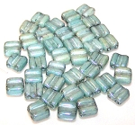 40 Grooved Tile 2-Hole Czech Glass Groovy Beads - Chalk Seafoam