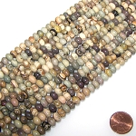 1 Strand of 8x5mm Puff Rondelle Semiprecious Gemstone Beads - Silver Leaf Agate
