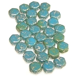 30 Czech Glass 6mm Honeycomb Hex 2-Hole Beads - Silver Splash Turquoise Blue