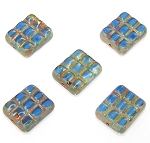6 Sky Blue Picasso 15x13mm Pressed Glassed Rectangle Beads